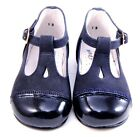 DE OSU A-618 - Girls Euro Navy Blue Leather & Patent Dress Shoes - Size 4 Size 5