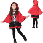 Girls Little Red Riding Hood Costume Kids Halloween Cosplay Fancy Dress Outfit