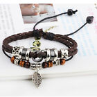Brown PU Leather Bracelet Men Women's Bangle Fashion Retro Anchor Charm JewelryL
