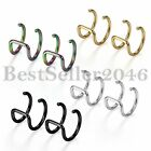 16G Stainless Steel Non-piercing Fake Ear Nose Ring Clip-on Body Jewelry 2pcs