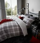 Catherine Lansfield 100% Cotton Flannelette Grey Tartan Duvet Cover Bedding
