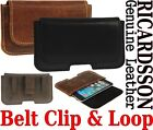 BELT CLIP & LOOP HOLSTER RICARDSSON GENUINE LEATHER POUCH CASE FOR MOBILE PHONES