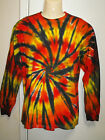 MENS TIE DYE DYED LONG SLEEVE T SHIRT HIPPY RAVE DOOF SIZES  S M L XL XXL & 3XL