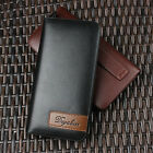 New Men Leather Wallet Long Purse Hangbag Credit Card Holder Coins Checkbook Zip