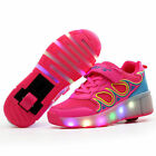 Girls Women Pink Roller Skate Sneakers with Wheels LED Summer Mesh Roller Shoes