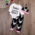 Newest Newborn Baby Little Girl Deer Tops +Long Pants Hat Outfit Set Clothes