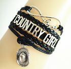Infinity Love COUNTRY GIRL With Cowgirl HAT Charms Suede Leather Bracelet-Black
