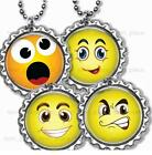 "Silly Smiley Face Bottle Cap Necklace 24"" Chain Silly Bottle Cap Jewelry"