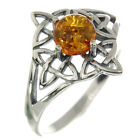 Celtic Knot Silver Ring, Mix US Size, set w Baltic Amber, Solid Sterling Silver,