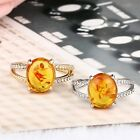 Amber Citrine transparent Crystal Ring Statement Jewelry Wedding Size7-10 Gift