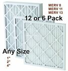 "PRO-PLEAT PLEATED AIR FILTER 1"" 2"" 4"" (6 or 12 PACK) MERV 8, 11, 13 -YOU CHOOSE!"