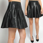 TheMogan Textured Faux Leather High Waisted Pleated Skater Mini Skirt S