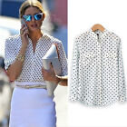 New Women Camisas White Long Sleeve Blouse Casual Shirt Polka Printing Tops LAUS