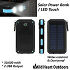 30000mAh Solar Power Bank Led Touch External Battery Dual USB Water resistance