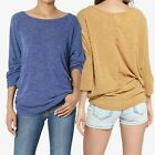 TheMogan 3/4 Sleeve Relaxed Fit Dolman Top Lightweight Knit Sweater Pullover