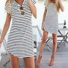 New Women Girls Striped Shirt Casual O-Neck Short Sleeve Loose T-Shirt LAU
