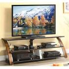 TV Stand 70 inch Home Entertainment Center Cherry wood w glass shelves tabletop