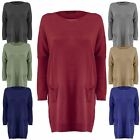 Ladies Womens Knitted Batwing Sleeves Over Sized Fine Knit Hem Jumper Dress Top