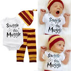 3PCS Newborn Infant Boys Unisex Romper Striped Top Leggings Hat Outfits Clothes
