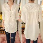 Women's Notch Neck 3/4 Sleeve Flower Embroidery Long Blouse Tops Tunic Shirt