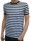 MENS stripey tee t-shirt black white indie mod sailor NEW preppy nautical punk