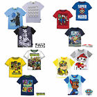 Boys T-Shirt Short Sleeve Top Star Wars Paw Patrol Super Mario Age 2-12 New