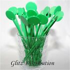 "7"" GREEN COCKTAIL STIRRERS SWIZZLE STICKS DISCS PACK OF 10,25,50,100, 250, 500"