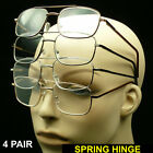 4 PAIR READING GLASSES LARGE LENS PACK LOT METAL AVIATOR CLEAR NEW SPRING HINGE