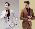 Brand Mens Suits Quality Men Formal  Suit Wedding Work Tuxedos Khaki Silver