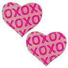 XS AND OS ON BABY PINK GLITTER HEARTS NIPPLE PASTIES BY PASTEASE O/S