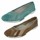 LADIES DOWN TO EARTH TEAL SLIP ON CASUAL FLAT SHOES STYLE: F8991