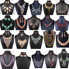 Women Jewelry Crystal Pendant Choker Chunky Statement Bib Necklace Chain Luxury