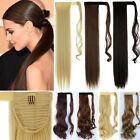 Real Thick Clip In As Human Hair Extensions Pony Tail Wrap On Long Ponytail T9P