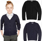 NEW M&S GIRLS NAVY BLACK COTTON SCHOOL CARDIGAN 3 4 5 6 7 8 9 10 11 12 13 14 15
