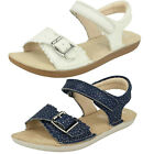 Girls Clarks Ivy Blossom Inf & Jnr White Leather Air Spring FX Two Strap Sandals