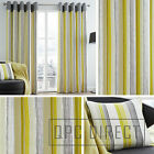 Pair of Striped 100% Cotton Eyelet Ring Top Lined Curtains, Grey & Lime Green