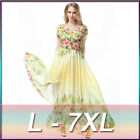 2016 new Womens Chiffon Long Dress Big Hem Beach Printed Short Sleeve Dress gown