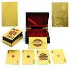 New 24K Karat Gold Foil Plated USD EUR Poker Playing Card With Wood Box And TXWD