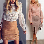 Women Ladies Lace Crochet Casual Girl Long Sleeve T Shirt Tops Hollow Blouse Top