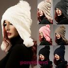 Hat FOR EARS knitted baseball cap padded pom pom woman fur M-384
