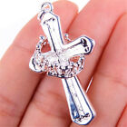 925 Sterling Silver Carved Holy Cross 45 * 25mm Crown Pendant + Necklace C857