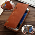 Unique Luxury Flip Leather Men's Wallet Card Slots Stand Case Cover For Samsung