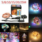 5/8/10/15/20/25M LED Copper Wire Xmas String Fairy Light w/Remote Controller US