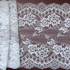 """Laces Galore"" ~Clipped White Wide Delicate Flower Lace 7.5""/19 cm Craft/Trim"