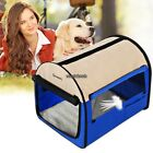 Blue Canvas Crate Dog Cat Pet Carrier Bag Kennel House 24/28/32/38 inch RLWH