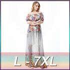 Simple Floral Prints Chiffon Long Dresses Short Sleeve Beach Party Women's Gowns