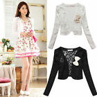 Women's ladies Lace Mesh Flower Bow Long sleeve short Bolero Jacket Shrug ladies