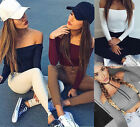 Casual Women Off-Shoulder Slim T-Shirt Cotton Long Sleeve Knitted Blouses Tops