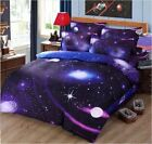 3D Galaxy Bedding Single/Double Pillowcase Quilt Duvet Cover Set Flat