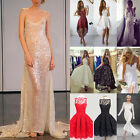 Women's Elegant Shiny Lace Backless Long Dress Ball Gown Evening Cocktail Prom